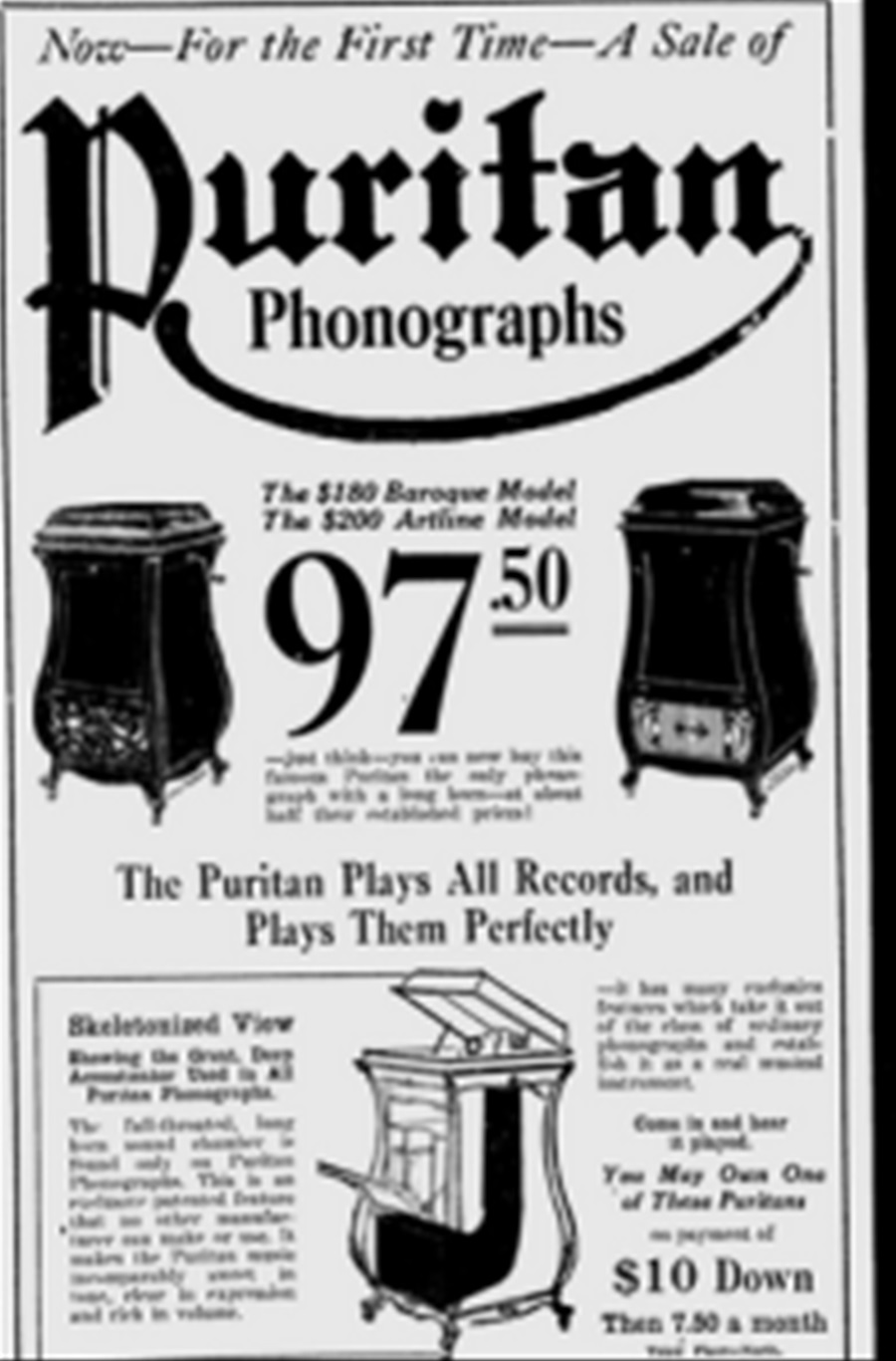 - PURITAN – PHONOGRAPH ◇ ピューリタン 1917年製SPレコード用蓄音器 ◇26