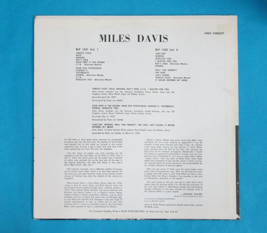 価格応談◆MILES DAVIS 他◆BLUE NOTE 片面深溝 重量 RVG刻印 耳2