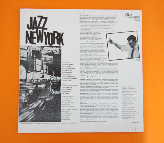 価格応談◆MANNY ALBAM/JAZZ NEW YORK ◆DOT 米 深溝2