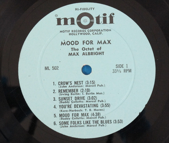 価格応談◆MAX ALBRIGHT,BUDDY COLLETTE他◆MOTIF RECORDS米深溝2