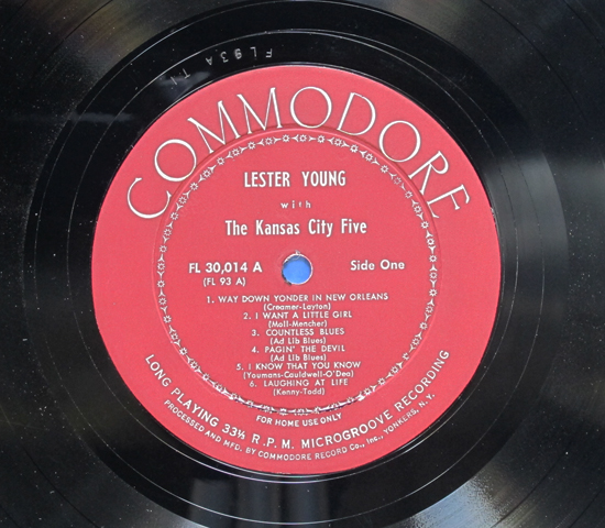 ◆LESTER YOUNG AND THE KANSAS CITY5◆COMMODORE 米深溝3