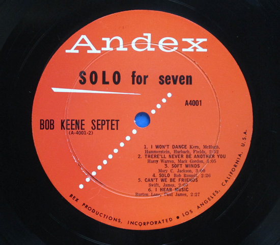 ◆BOB KEENE & BOBBY BURGESS 他/SOLO FOR SEVEN◆ANDEX 米深溝3