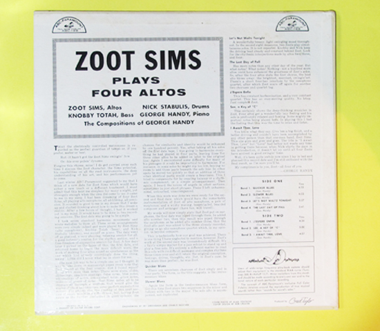 価格応談◆ZOOT SIMS PLAYS 4 ALTOS◆ABC-PARAMOUNT 米深溝 MONO2