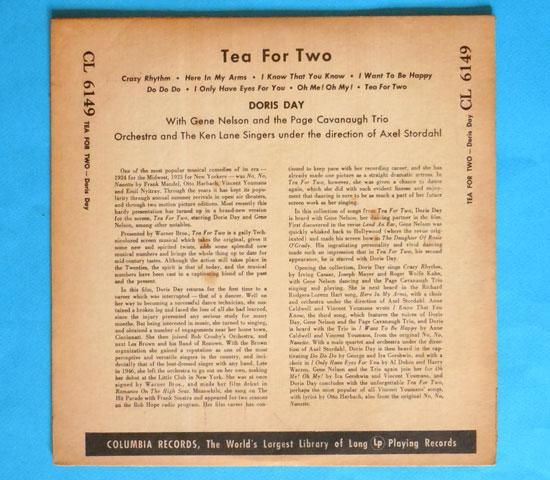 ◆10インチ◆DORIS DAY/TEA FOR TWO◆COLUMBIA 米盤 フラット2