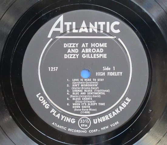 ◆DIZZY GILLESPIE/DIZZY AT HOME◆ATLANTIC 米深溝 黒ラベル3