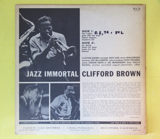 価格応談◆CLIFORD BROWN/ZOOT SIMS◆ PACIFIC JAZZ 米深溝2