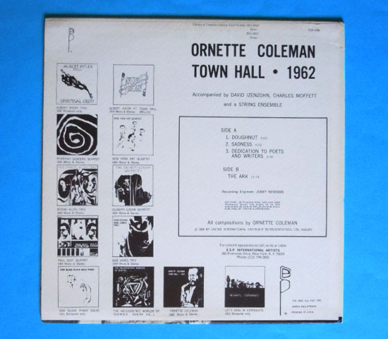 ◆ORNETTE COLEMAN/TOWN HALL DECEMBER 1962◆ESP -1006 米盤2