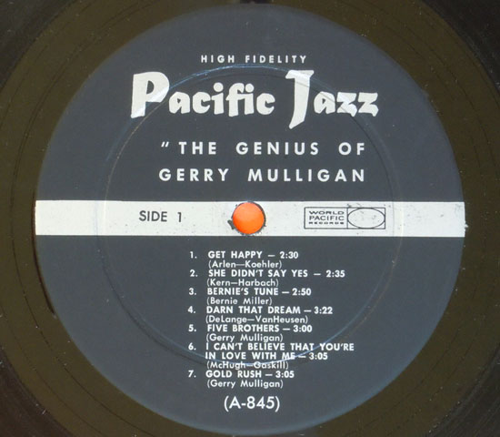 ◆GERRY MULLIGAN/THE GENIUS OF….◆PACIFIC JAZZ 米!深溝2