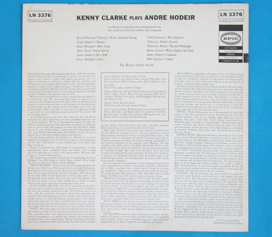 価格応談◆KENNY CLARKE PLAYS ANDRE HODEIR◆EPIC 米深溝2