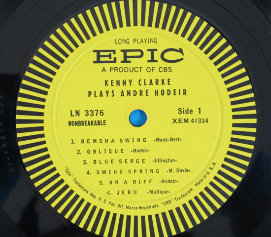 価格応談◆KENNY CLARKE PLAYS ANDRE HODEIR◆EPIC 米深溝3
