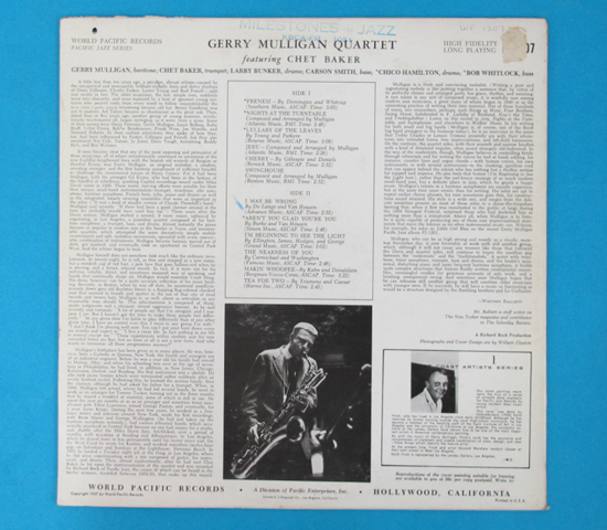 価格応談◆GERRY MULLIGAN QUARTET◆ WORLD PACIFIC 米深溝2