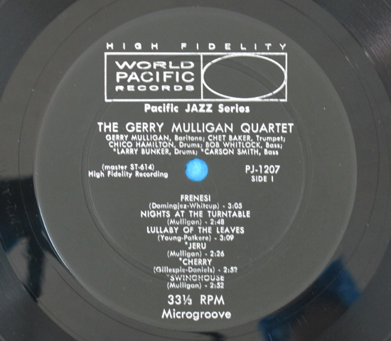 価格応談◆GERRY MULLIGAN QUARTET◆ WORLD PACIFIC 米深溝3
