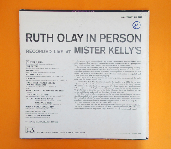 価格応談◆RUTH OLAY ◆UNITED ARTISTS 米 深溝2