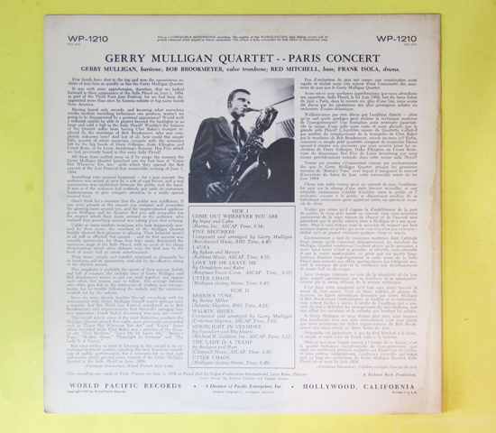 価格応談◆GERRY MULLIGAN QUARTET◆WORLD PACIFIC 米深溝2