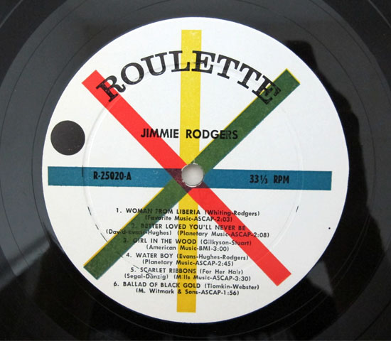 価格応談◆JIMMIE RODGERS ◆ROULETTE 米 深溝3