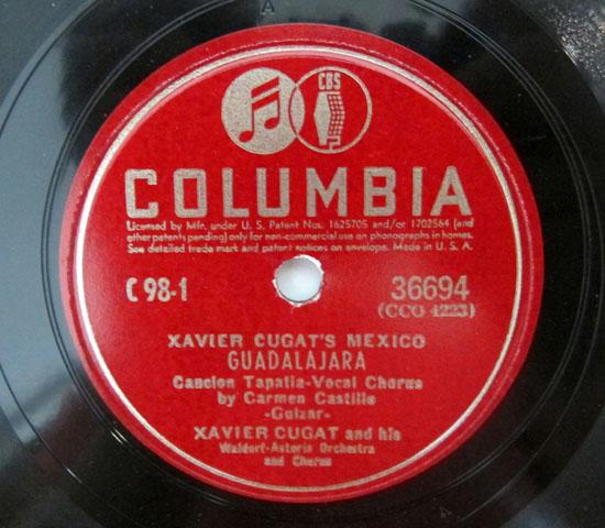 価格応談 ◆SP盤 ◆4枚組 ◆XAVIER CUGAT/MEXICO ◆C0LUMBIA 米3