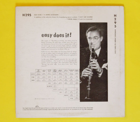 ◆10インチ◆BENNY GOODMAN/EASY DOES IT!◆CAPITOL 米!深溝2