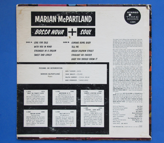 ◆MARIAN MCPARTLAND/BOSSA NOVA SOUL◆TIME RECORDS 米盤2