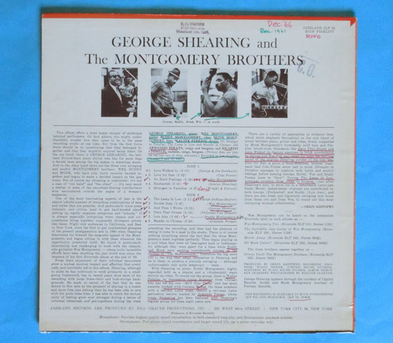◆GEORGE SHEARING AND THE MONTGOMERY….◆JAZZLAND 米!深溝2