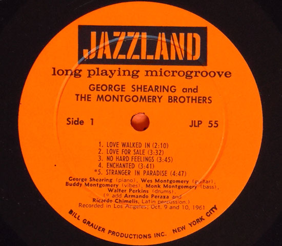 ◆GEORGE SHEARING AND THE MONTGOMERY….◆JAZZLAND 米!深溝3