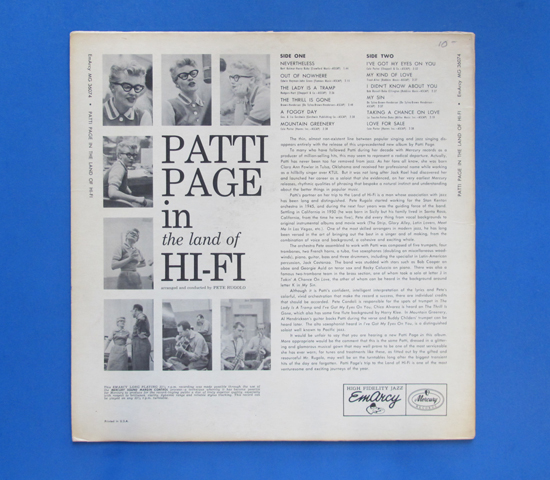 ◆PATTI PAGE/IN THE LAND OF HI-FI◆ EMARCY 米深溝2