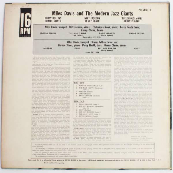 超レア16回転プロモ◆Miles Davis/ The Modern Jazz Giants◆2