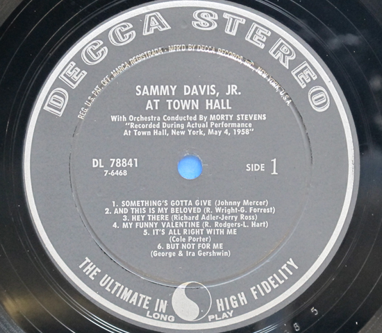 ◆SAMMY DAVIS AT TOWN HALL◆DECCA RECORD 米深溝3
