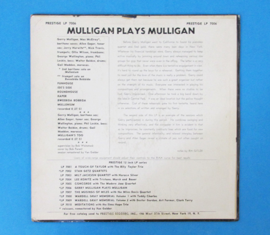 価格応談◆GERRY MULLIGAN PLAYS MULLIGAN◆PRESTIGE 米深溝 RVG2