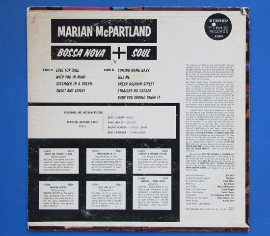◆MARIAN MCPARTLAND/BOSSA NOVA & SOUL◆TIME RECORDS 米深溝2