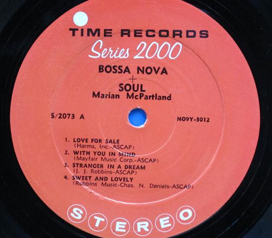 ◆MARIAN MCPARTLAND/BOSSA NOVA & SOUL◆TIME RECORDS 米深溝3