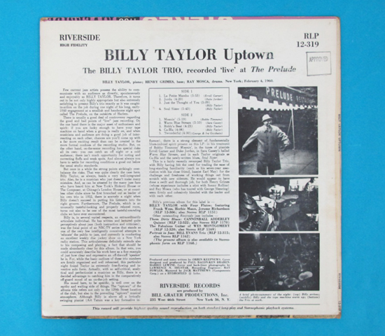 価格応談◆BILLY TAYLOR/UPTOWN◆RIVERSIDE 米深溝2
