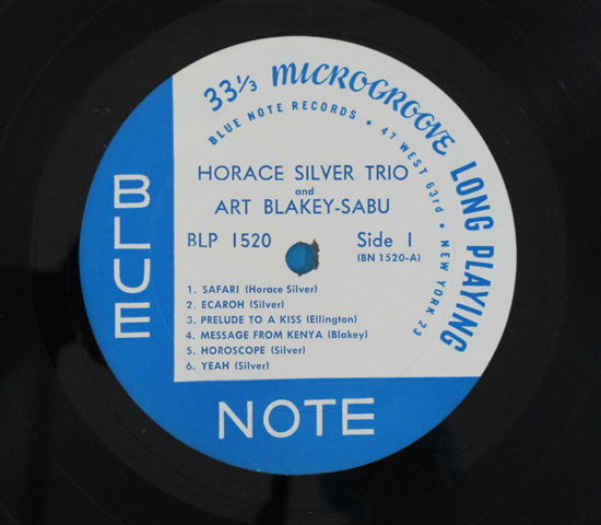 ◆HORACE SILVER&ART BLAKEY◆BLUE NOTE 米深溝RVG手書き 耳あり3