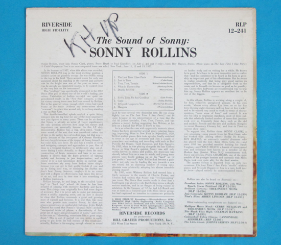価格応談◆SONNY ROLLINS◆ RIVERSIDE 米深溝2