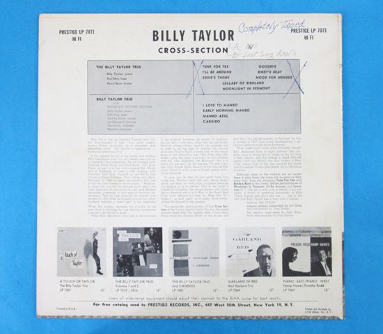 価格応談◆BILLY TAYLOR◆ PRESTIGE 米深溝 N.Y.C. 手書きRVG2