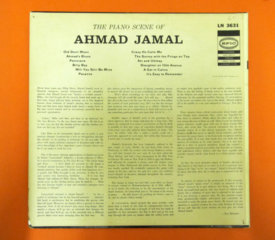 価格応談◆THE PIANO SCENE OF AHMAD JAMAL◆ EPIC 米深溝2