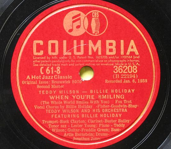 価格応談◆4枚組◆TEDDY WILSON/BILLIE HOLIDAY◆COLUMBIA米深溝3
